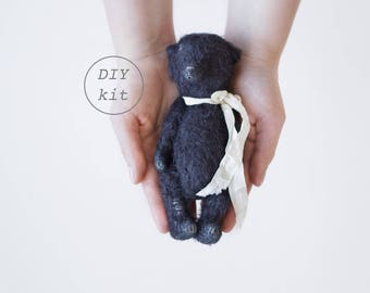Black Mohair Teddy Bear 7 Inches DIY Kit, Sewing Kit, Craft Kit, DIY Kits For Adults, DIY Gifts For Her, Artist Teddy Bear, Soft Toys