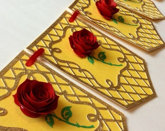 Enchanted rose banner, beauty and the beast, rolled roses, enchanted party, enchanted rose decoration, beauty and the beast party,