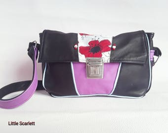 Purple and black leather bag and tissue patterns poppies