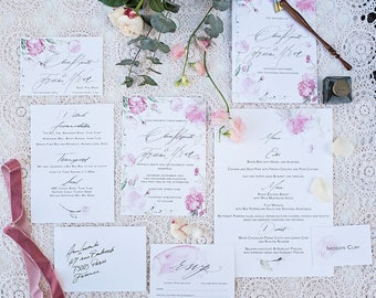 Watercolour Wedding Invitation & Packages   Custom Calligraphy Wedding   peonie Wedding   The Bloom Collection