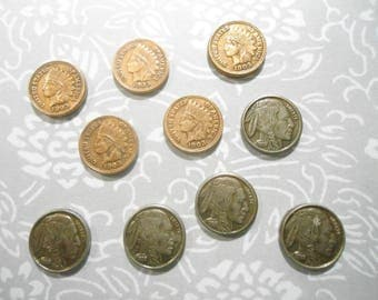 5 Indian Head Penny Stampings and 5 Buffalo Nickel Stampings 10mm