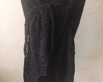 Hand knitted black shawl