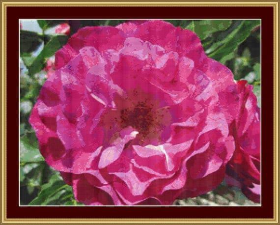 Pink Flower Cross Stitch Pattern /Digital PDF Files /Instant downloadable