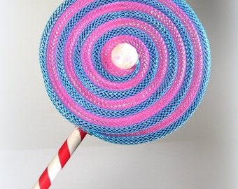 Fake Lollipop Whimsical Decoration Pink and Blue With Sprinkles Lollipop Wand Costume Accessory