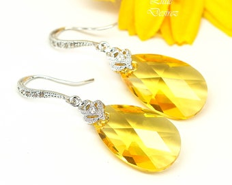 Yellow Earrings Sunflower Earrings Lemon Zest Canary Yellow Sunshine Yellow Bridesmaid Earrings Swarovski Crystal Sterling Silver LT32H