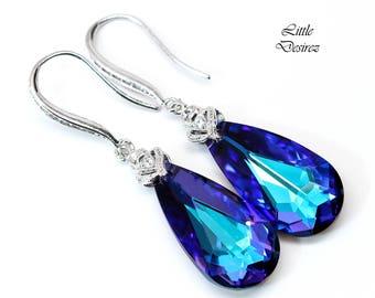 Swarovski Heliotrope Earrings Purple & Blue Earrings Bridal Earrings Bridesmaid Purple Jewelry Cubic Zirconia Earrings Sterling Silver HE33H
