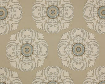 MANUEL CANOVAS SUZANI Embroidered Medallions Fabric 10 Yards  Beige Cream Multi