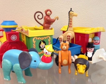 Vintage Fisher Price Little People Play Family Circus Train