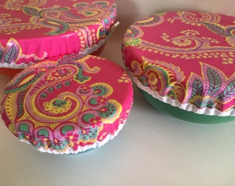 Picnic Food Storage, Reusable Bowl Covers, Laminated Bowl Covers, Bowl Covers, Washable Bowl Covers, Cloth Bowl Covers, Eco Friendly