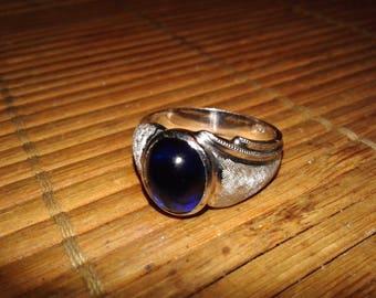 Men's 14 Karat Gold Blue Sapphire Ring Size 10 Vintage Grams 6.5