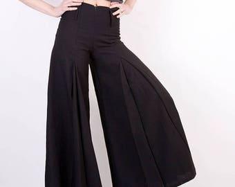 SALE 90s Black Pants / Flared Black Pants / Grunge Pants / French Pants / Woman Black Pants / High Waisted Pants / Medium Pants