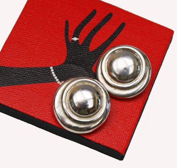 Sterling Silver Round earrings -  Hollow ribbed - Modernistic - Clip on Earring