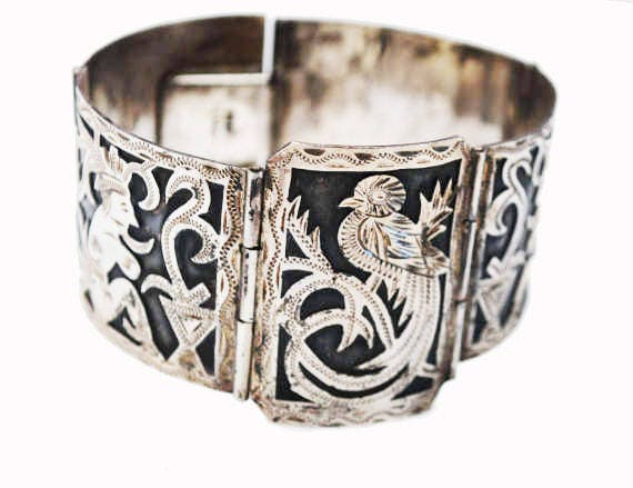 900 Silver Tribal Panel Bracelet - Wide Story link Bangle - Bird -south American - Black oxidation - Silver overlay