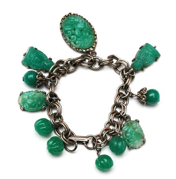Green Glass Charm Bracelet - Asian Buddha - Peking molded Glass - Silver chain  - Cha cha Dangle bangle