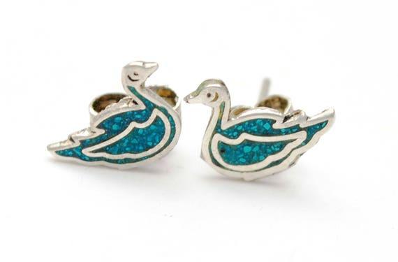 sterling duck earrings - Turquoise inlay - Blue gemstone - Silver stud figurine pierced earrings