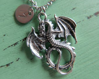 Dragon Necklace/Initial/Monogram/Stainless steel chain