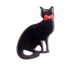 Brooch black cat