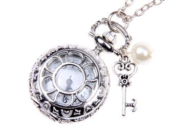 Alice in Wonderland Necklace, Alice in Wonderland Pocket watch, Key watch, Key Necklace
