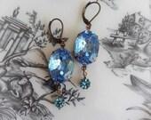 Vintage Assemblage Earrings, Light Sapphire Vintage Rhinestone Earrings, Boho Chic Earrings, Shabby Chic, Statement Earrings, Blue Earrings