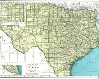1942 Vintage TEXAS Map of Texas State Map Print Gallery Wall Art Map Collector Gift For Traveler Wedding Birthday 6821