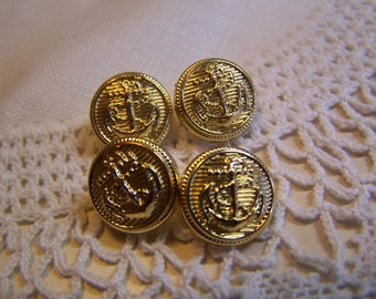 "Vintage 1/2"" Anchor Uniform Brass Tone Buttons, Set of 4 (no.1708)"
