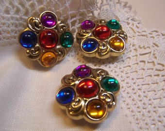 "3 Pretty Vintage 1-1/4"" Button Covers Brass Tone with Multi-Colored Jewel Centers (Place over buttons on blouse)"
