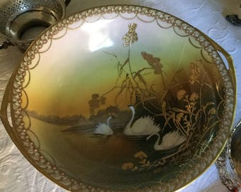 """Gorgeous 10"""" Handpainted Nippon Large Swan Accent Bowl-Porcelain Slip/Gold Beaded Moriage"""