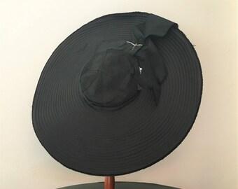 Vintage Late 1940s New Look Wide Brim Hat | Black Wide Brim Hat