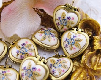 Vintage Brass Heart Locket Set with Purple and Pink Floral Cabochon Cameo Charms - 2