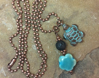 "Essential Oil Diffuser, Lava Rock, Aromatherapy Necklace, Turtle Charm, Ceramic Flower, 24"" Copper Ball Chain, Natural Healing"
