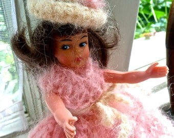 Vintage Doll - Hard Plastic Doll - Pink Crocheted Dress and Hat - Long Brown Hair - Articulated Toy Doll - Small Plastic Doll- Display