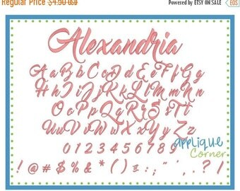 50% Off 3111 Alexandra Embroidery Font in bx, pes, dst and jef digital design for embroidery machine by Applique Corner