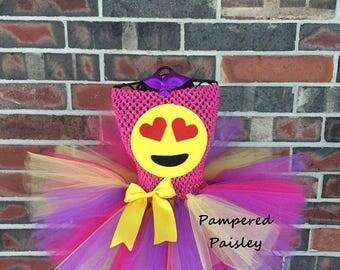 Halloween sale Smiley face tutu, Emoji tutu, Heart eye emoji, emoji halloween costume, toddler emoji costume