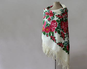 Russian shawl, cotton shawl, large shawl, floral tablecloth, tasseled shawl, babushka, off white with pink and teal, folk rustic shawl