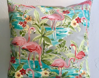 26x26 Flamingo Pillow Cover, Large Outdoor Decorative Pillow Cover, Floor Pillow Cover, Gray Pink Turquoise Pillow