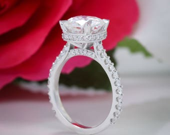 Forever One Cushion Cut Moissanite Diamond Engagement Ring Setting - Liz
