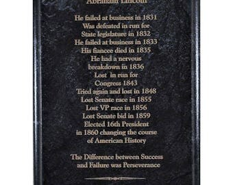 Abraham Lincoln on Success and Failure Marble Plaque Gift for Dad President Frame 7x9