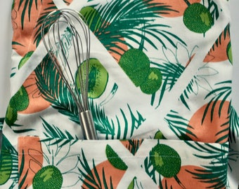 Full Apron: Tropical Print, Palm Leaf, Breadfruit All Over Print Canvas Apron, Screen Printed