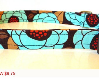 "Sale - 50% Off - Floral Dog Collar - Chocolate, Brown, Turquoise & Red-""Anita""-Free Colored Buckles"