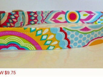"Sale - 50% Off - Dog Collar - Multi Floral - ""Ashley"" - Free Colored Buckles"