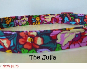 "Sale - 50% Off - Floral Dog Collar - Beautiful Multi Floral Dog Collar ""Julia"" - Free Colored Buckles"