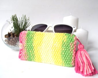 Lime and Pink Glasses Case. Knitted Sunglasses Case. Knit Eyeglasses Holder.