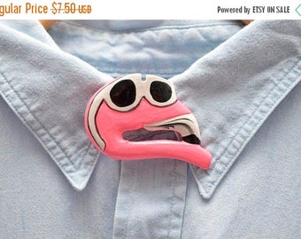 ON SALE 80s Cool Flamingo Button Cover Wooden Hand Painted Charm Sunglasses