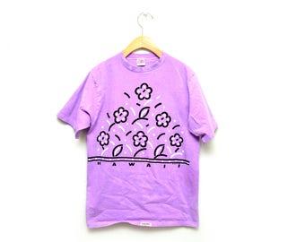80s Purple Hawaii Floral Pattern Tee T-shirt Women's Medium