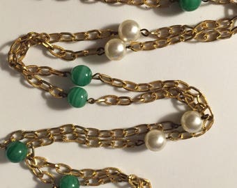 Vintage Art Glass Faux Pearl 50 Inch 1950s-60s Flapper Style Necklace