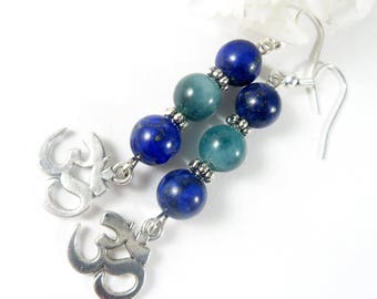Blue Lapis Lazuli & Jade Earrings w Silver Accents, Ohm Earrings, Lapis Earrings, Ohm Charm Earrings, Ohm Jewelry, Gemstone Earrings