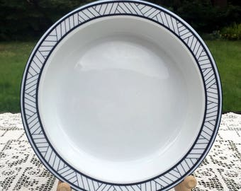 Dansk Lyngby/Rimmed Soup Bowl/White with Blue Lines on Edge/1990-93 Portugal/Mix N Match w/Bistro/Dansk International/Lyngby Soup Bowl/VGC