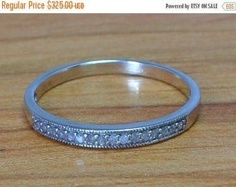 DEADsy LAST GASP SALE White Gold Channel Set Diamond Band // Vintage White Gold Wedding Ring // Eternity Diamond Wedding Band size 8