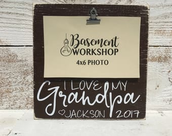 I love my Grandpa - CUSTOMIZE the NAMES -   photo block - wood picture frame - custom color choices - display your 4x6 photo - home decor -