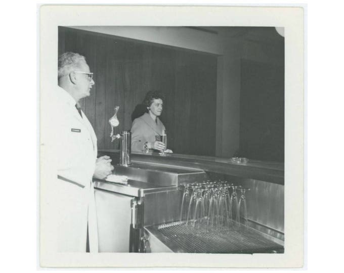 Vintage Snapshot Photo: Woman Drinking Alone at Bar, c1950s-60s (77595)